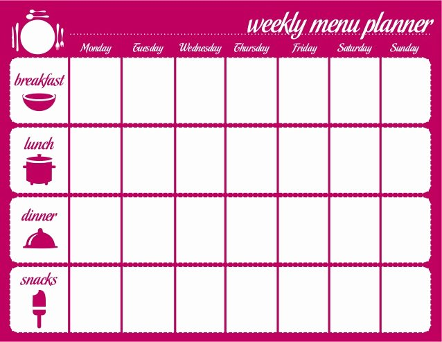 Weekly Meal Plan Template Word Inspirational Weekly Menu Template