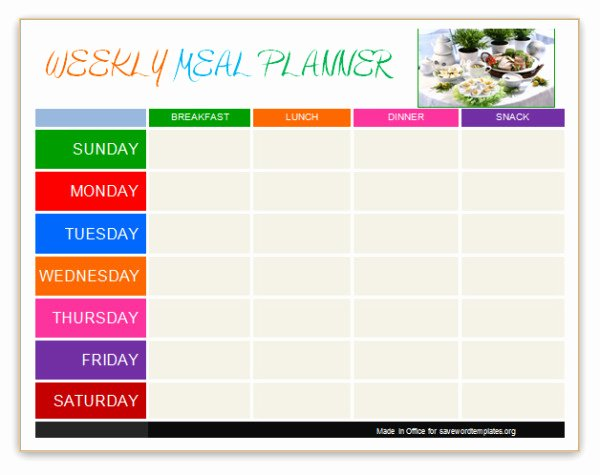 Weekly Meal Plan Template Word Luxury Planner Templates