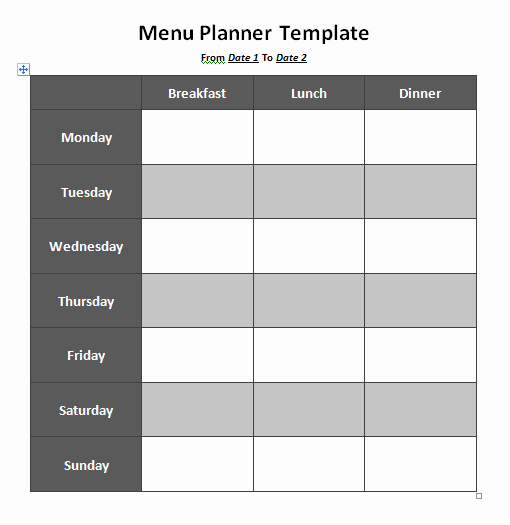 Weekly Meal Plan Template Word New Weekly Menu Template