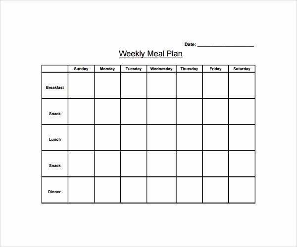 Weekly Meal Plan Template Word Unique 14 Weekly Meal Plan Templates