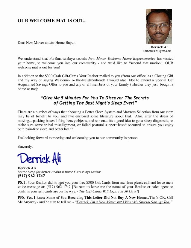 Welcome to the Neighborhood Letter From Business Best Of Home Purchase Fer Letter Free Printable Documents