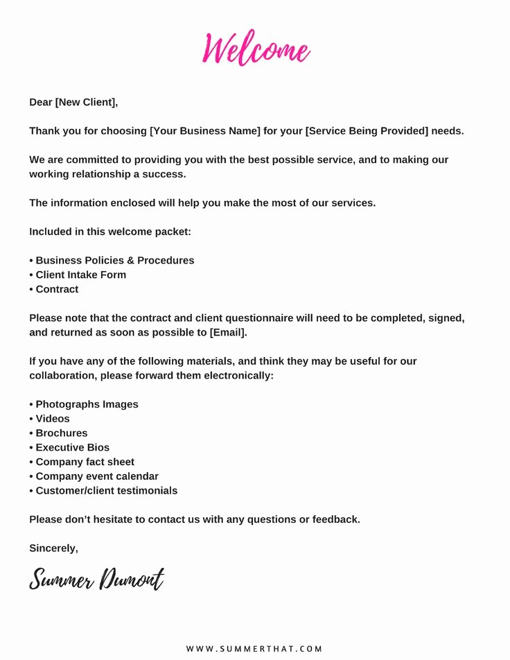 Welcome to the Neighborhood Letter From Business Fresh Virtual assistant Wel E Packet and Contract