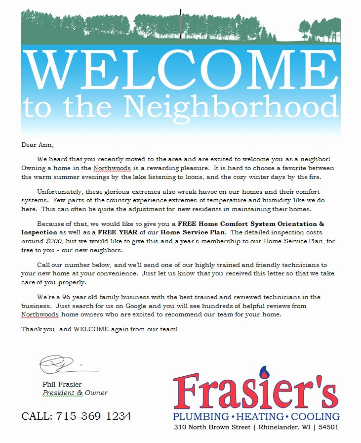 Welcome to the Neighborhood Letter From Business Unique Wel E to the Neighborhood Letter Zoro Blaszczak