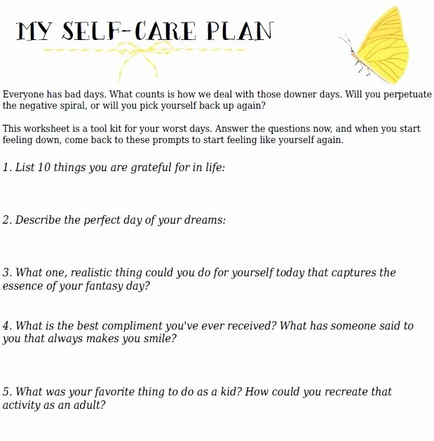 Wellness Recovery Action Plan Template Unique Home Your Self Care Action Plan A Free Printable
