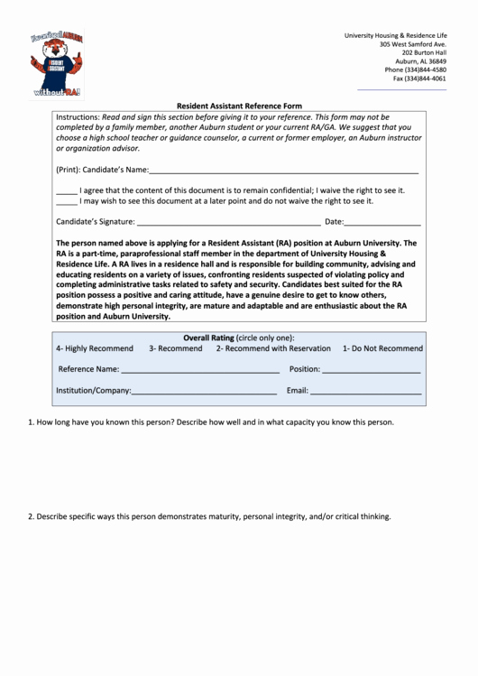 West Point Letter Of Recommendation Lovely Resident assistant Reference form Printable Pdf