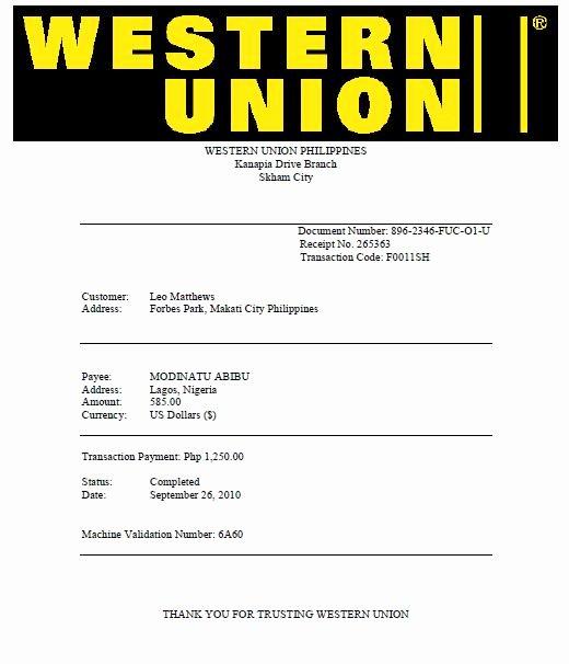 Western Union Fake Receipt Generator Unique I Lost $585 In Nigerian 419 Scam T T