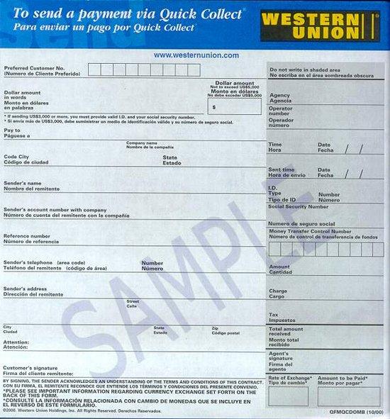 Western Union Receipt Sample Fresh Blank Money order