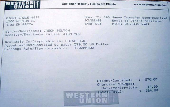 Western Union Receipt Sample New Beijing Impression Payment Guide