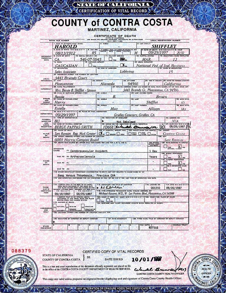 What Does A California Birth Certificate Look Like Beautiful Death Certificates