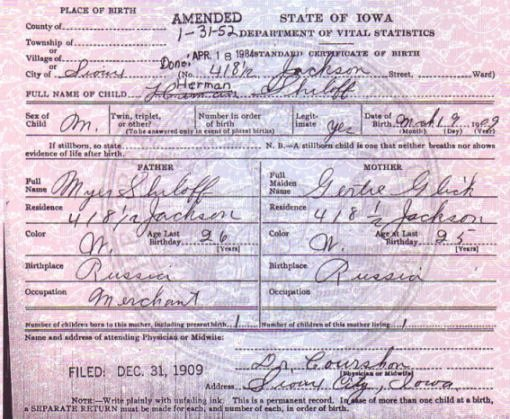What Does A California Birth Certificate Look Like Beautiful Genealogy History and Lineage Research for Myer Shiloff