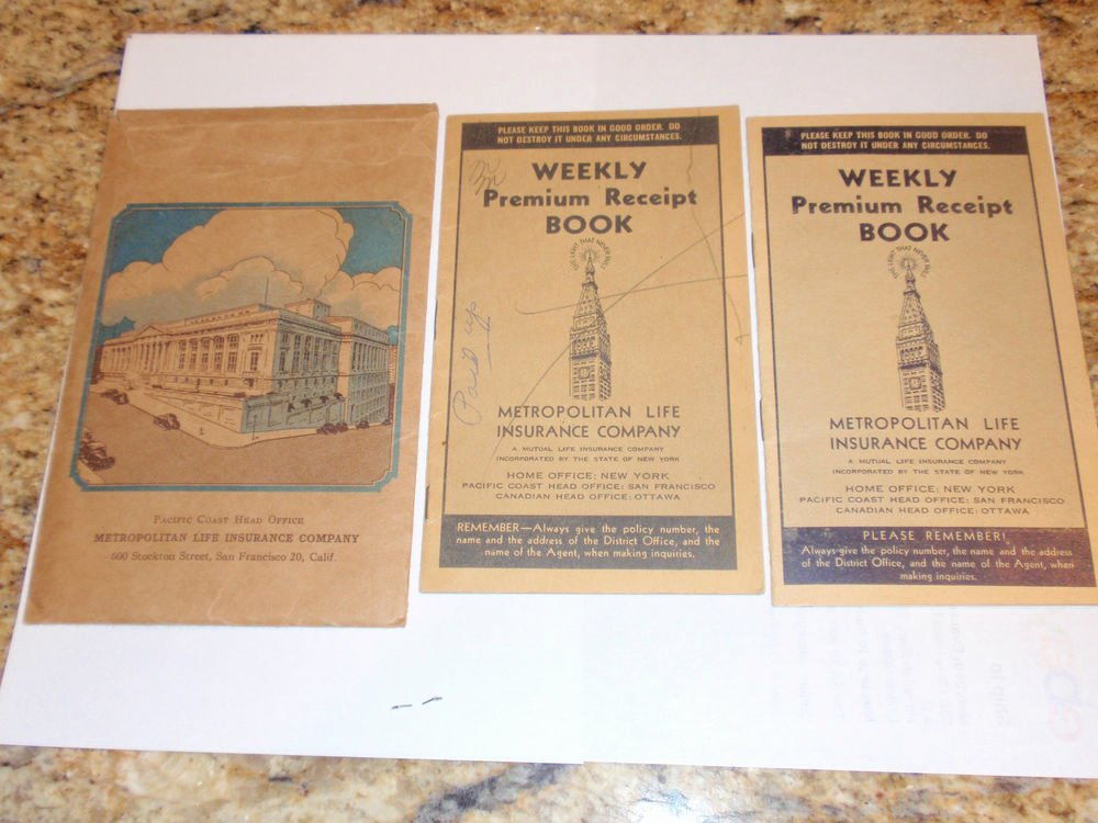 Where to Buy Receipt Books Awesome 1940s Metropolitan Life Insurance Co Weekly Premium