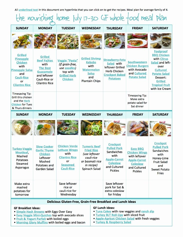 Whole 30 Meal Plan Template Elegant Bi Weekly whole Food Meal Plan for July 17 30 — the Better Mom