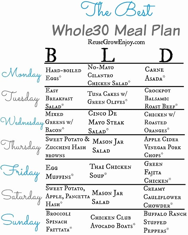Whole 30 Meal Plan Template Elegant whole30 Meal Plan for A Week