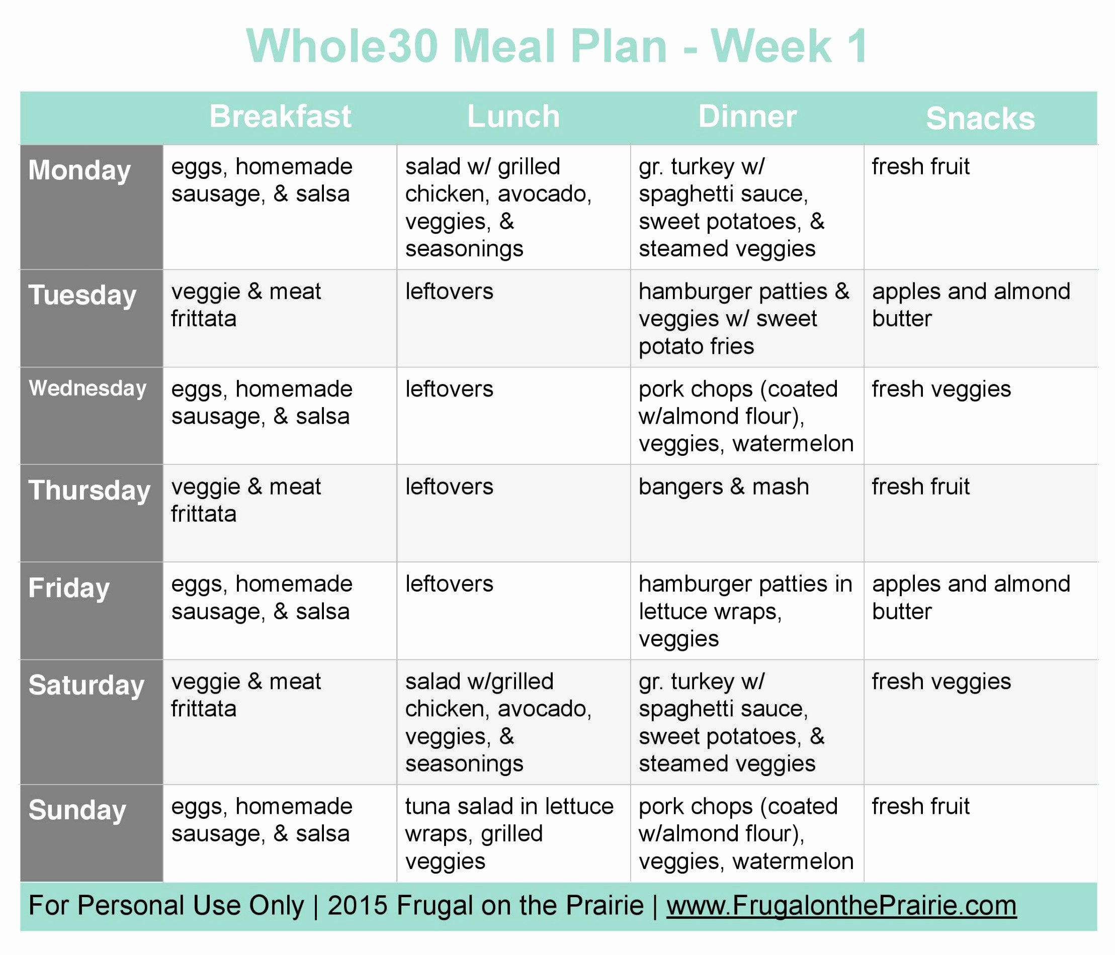 Whole 30 Meal Plan Template Fresh the Busy Person S whole30 Meal Plan Week 1 — Allison