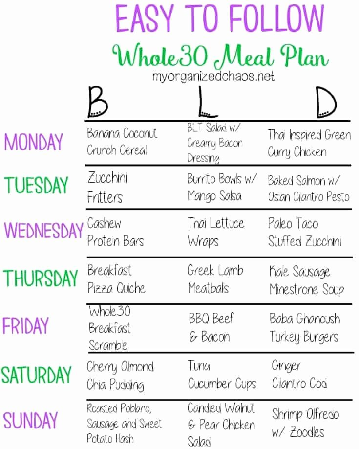 Whole30 Meal Plan Template Awesome Easy to Follow whole30 Meal Plan