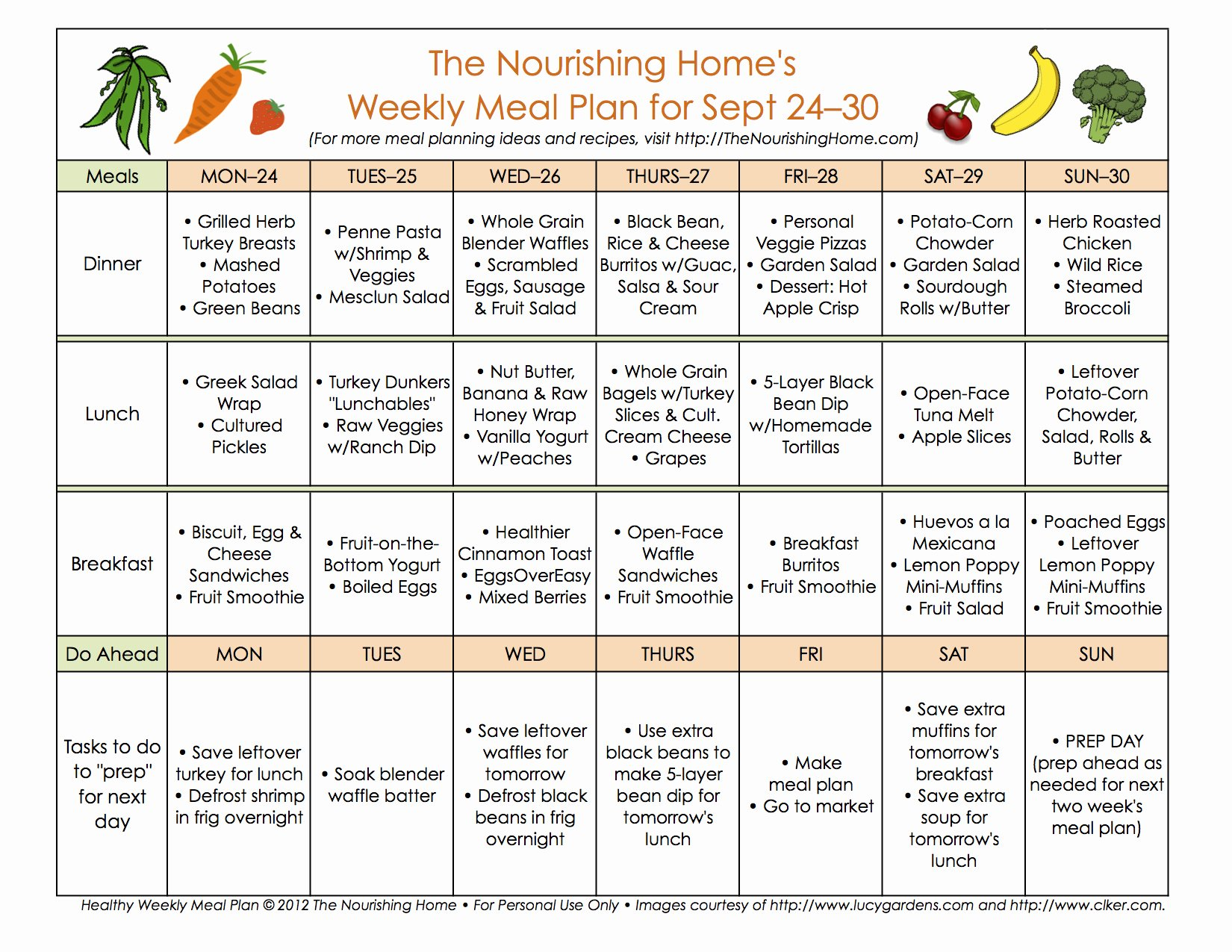 Whole30 Meal Plan Template Beautiful Meal Plan Monday September 17–30 the Nourishing Home