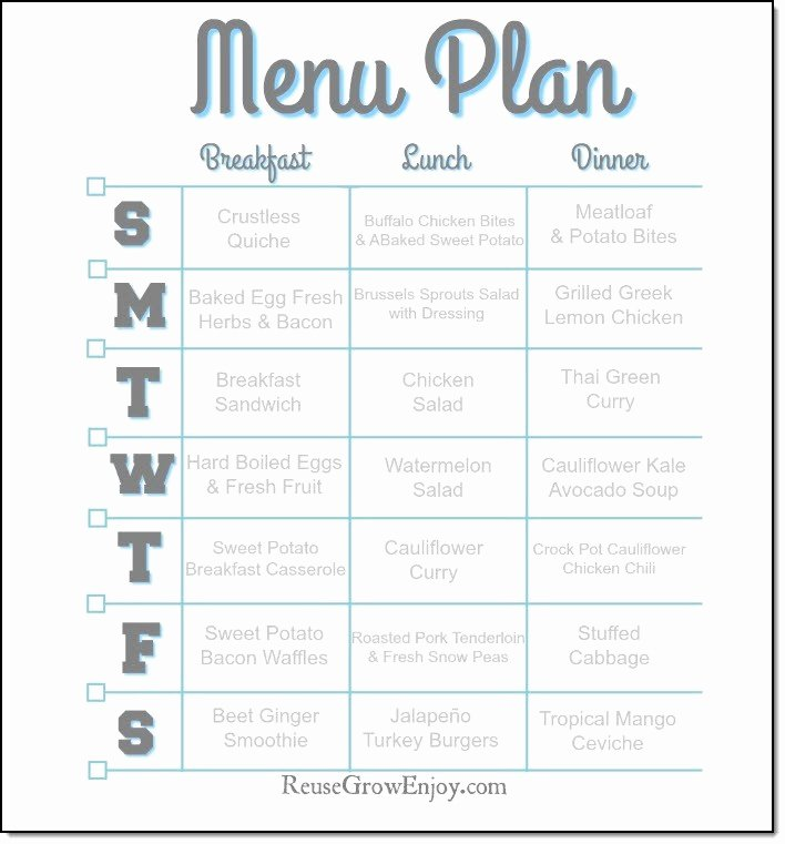 Whole30 Meal Plan Template Elegant 7 Day Weight Loss Menu