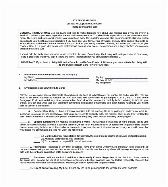 Will Template Free Download Awesome Living Will Template 8 Download Free Documents In Pdf