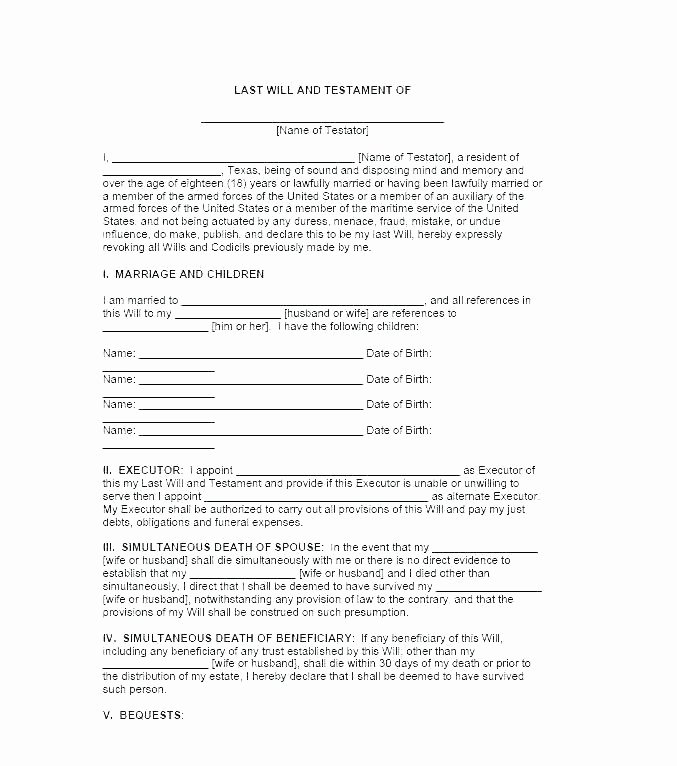 Will Template Free Download Awesome Will Testament Template form Templates Last and Car Sales
