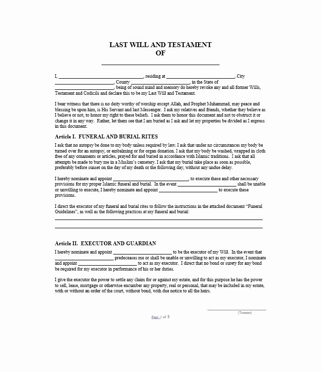 Will Template Free Download Beautiful 39 Last Will and Testament forms & Templates Template Lab