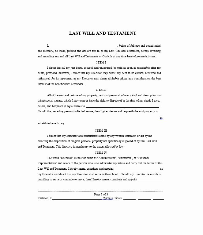 Will Template Free Download Best Of Last Will and Testament