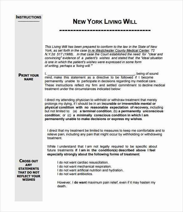 Will Template Free Download Lovely Living Will Template 8 Download Free Documents In Pdf