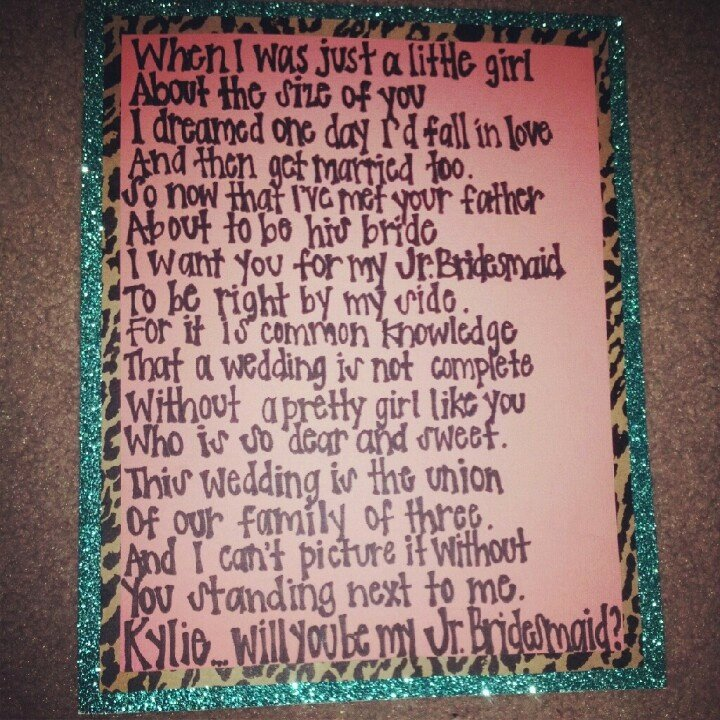 Will You Be My Bridesmaid Letter Template Inspirational Poem I Wrote Ky to ask Her to Be My Jr Bridesmaid Along