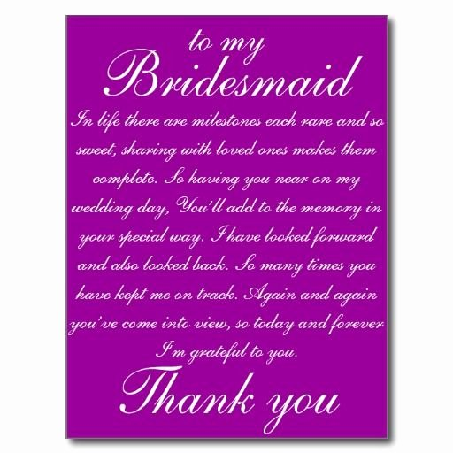 Will You Be My Bridesmaid Letter Template Luxury Bridesmaid Thank You Postcard Zazzle