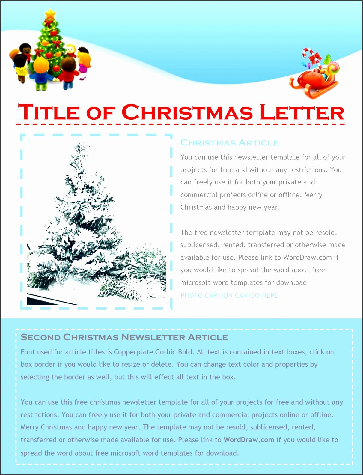 free christmas letter templates word