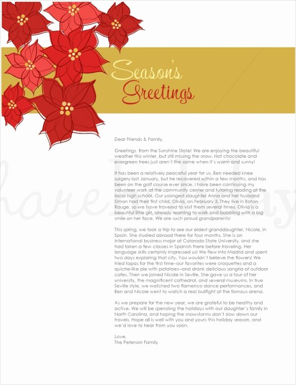 Word Christmas Letter Template New Holiday Letter Template – 16 Free Word Pdf Psd format