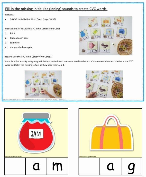 Word Fill In Printable Awesome Printable Cvc Words Bundle Activity Pack