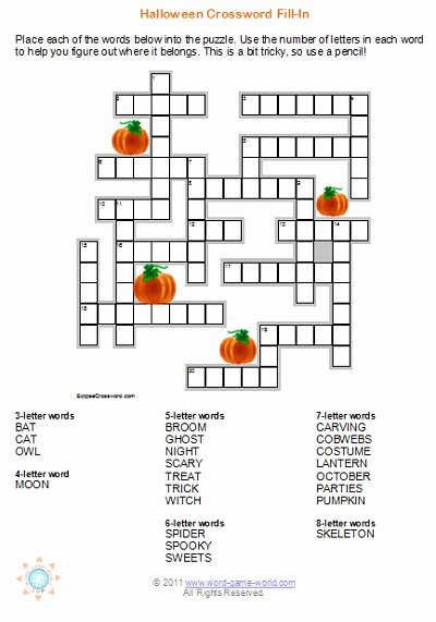 Word Fill In Printable Elegant Halloween Crossword Puzzles are Great for Your Fall Party