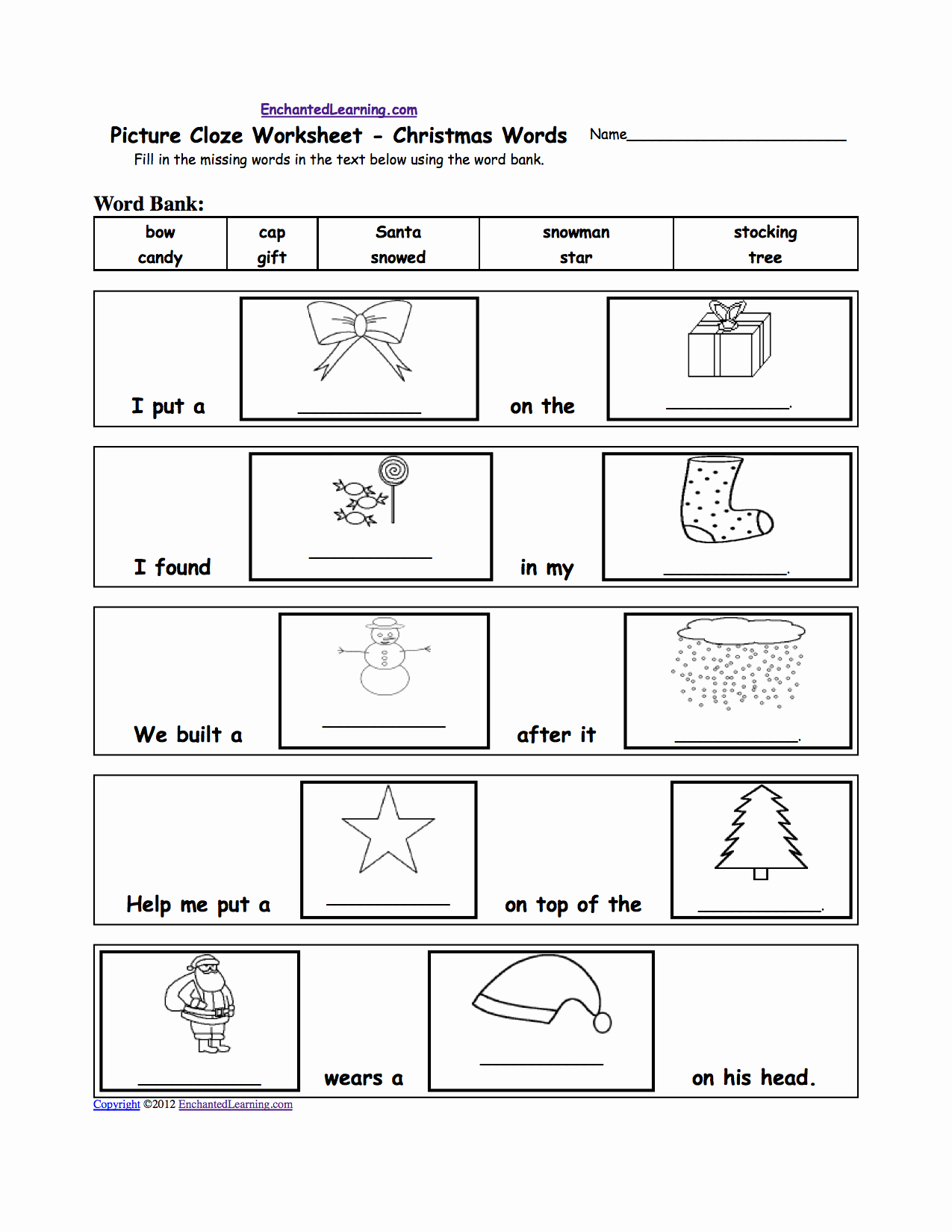 Word Fill In Printable New Christmas Crafts for Kids Enchantedlearning