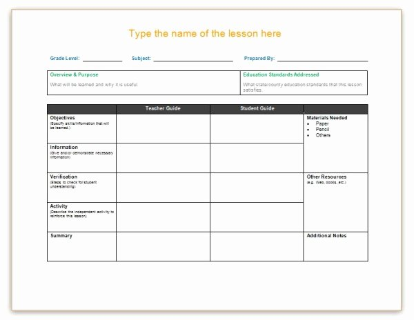 Word Lesson Plan Template Elegant Lesson Plan Template Word