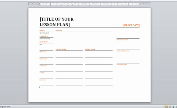 Word Lesson Plan Template Inspirational Daily Lesson Planner Template for Word