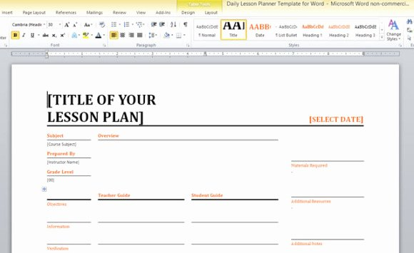 Word Lesson Plan Template Unique Daily Lesson Planner Template for Word