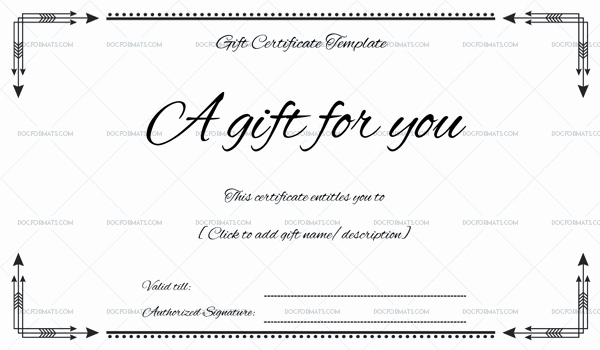 Wording for Gift Certificate Elegant Business Gift Certificate Word – Doc formats