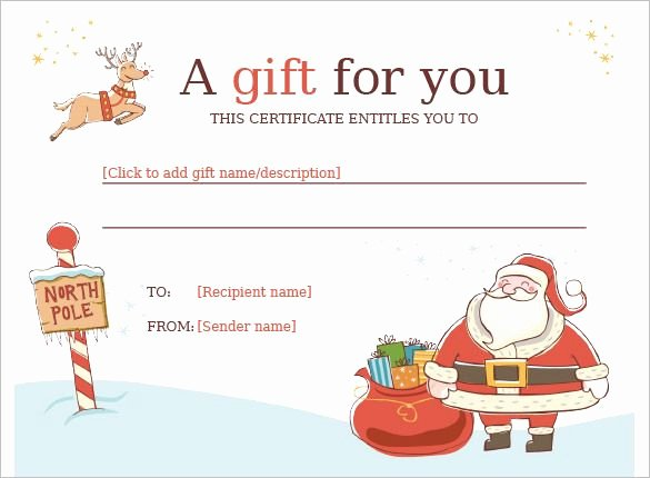 Wording for Gift Certificate Fresh Christmas Gift Certificate Template 11 Word Pdf