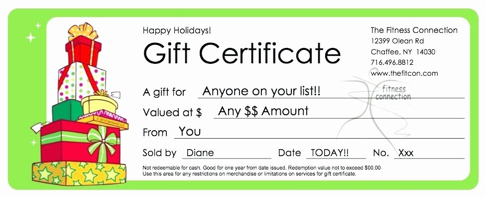 Wording for Gift Certificate Inspirational Gift Certificate Wording the Fitness Connection