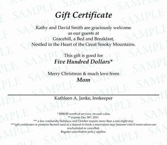 Wording for Gift Certificates Lovely Gift Certificates Gracehill Bed and Breakfast