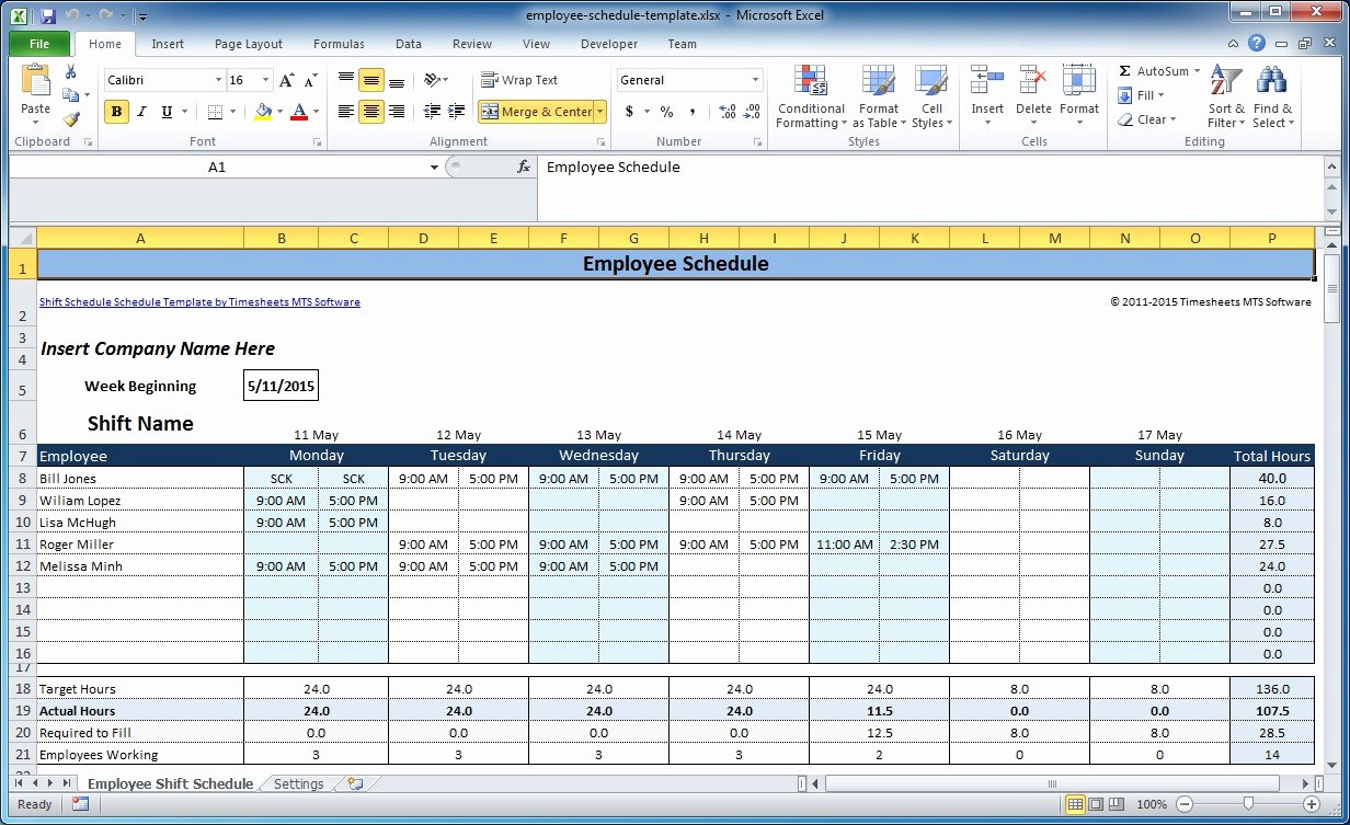 Work Plan Template Excel Elegant Free Employee and Shift Schedule Templates