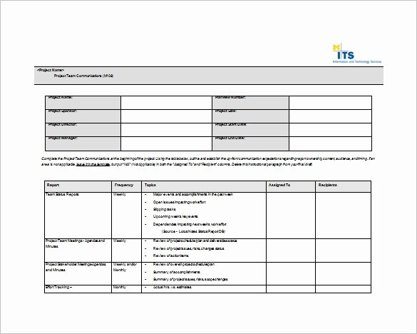 Work Plan Template Word Unique 9 Project Munication Plan Templates Pdf Word format