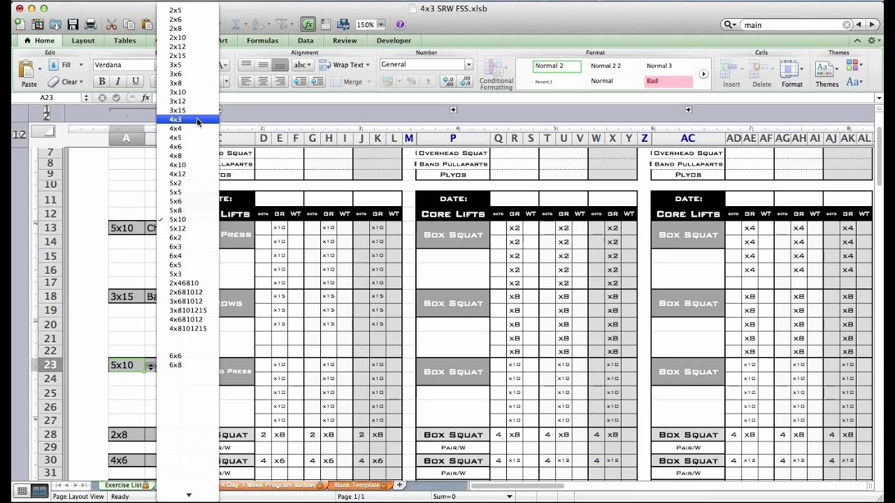 Workout Plan Template Excel Awesome Pt Fitness Excel Workout Template From Excel Training