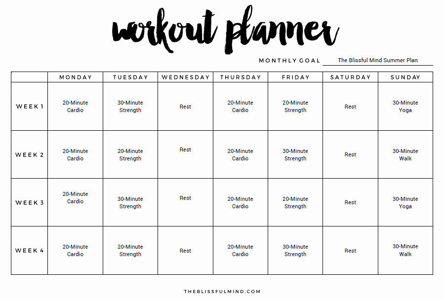 Workout Plan Template Excel Awesome Weekly Workout Plan Template