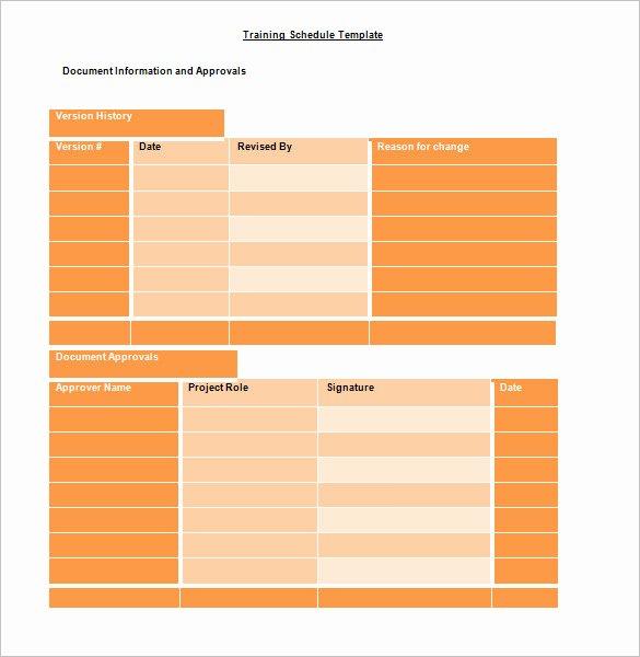 training schedule template 750