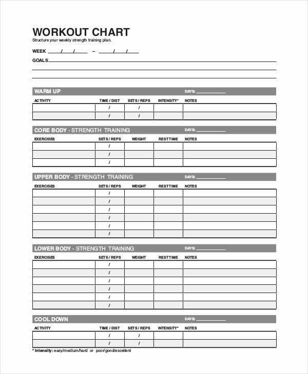 Workout Plan Template Excel Luxury Workout Chart Templates 8 Free Word Excel Pdf