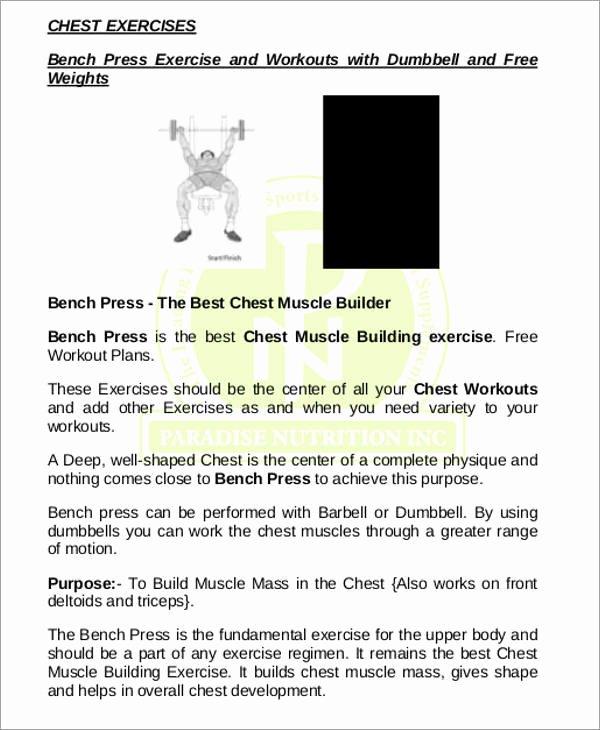 Workout Plan Template Pdf Fresh Best Chest Workout Routine Pdf