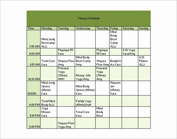 Workout Plan Template Pdf Fresh Workout Schedule Template 6 Free Sample Example format