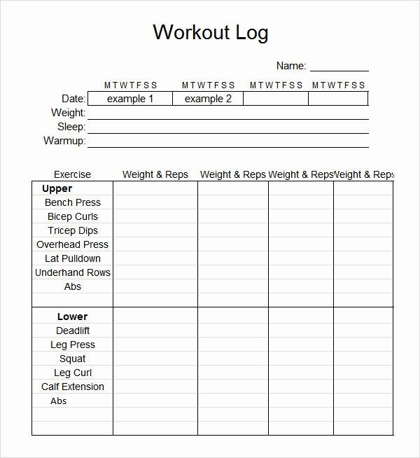 Workout Plan Template Pdf Inspirational Sample Workout Log Template 8 Download In Word Pdf Psd