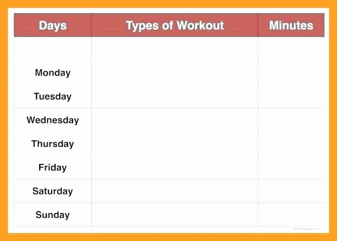 Workout Plan Template Pdf Luxury Weekly Workout Schedule Template Exercise Plan Excel